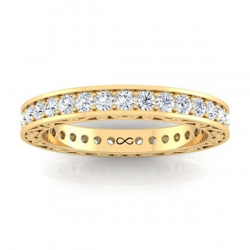 BEAD SINGLE SET SHOOTING STARS WITH ENGRAVED SHANK ETERNITY BAND (0.85ct)
